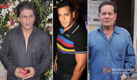 Shah Rukh Khan, Salman Khan and Salim Khan at an event
