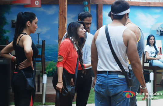 Sofia Hayat, Tanishaa Mukherjee, VJ Andy, Kamya Panjabi, Sangram Singh and Ajaz Khan in Bigg Boss 7