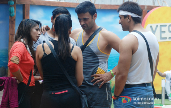 Tanishaa Mukherjee, VJ Andy, Sangram Singh and Ajaz Khan in Bigg Boss 7