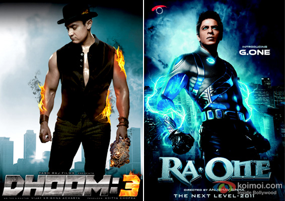 Aamir Khan in Dhoom 3 and Shah Rukh Khan in Ra.one Movie Posters