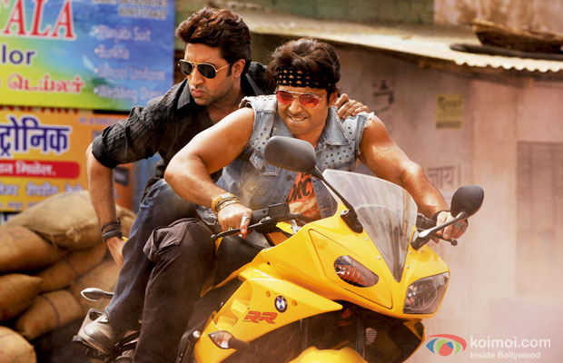 Abhishek Bachchan and Uday Chopra in a still from Dhoom 3