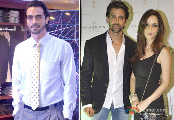 Arjun Rampal, Hrithik Roshan and Suzanne Roshan at an event