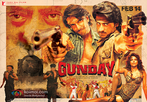 Ranveer Singh, Arjun Kapoor, Priyanka Chopra and Irrfan Khan starrer Gunday Movie Poster