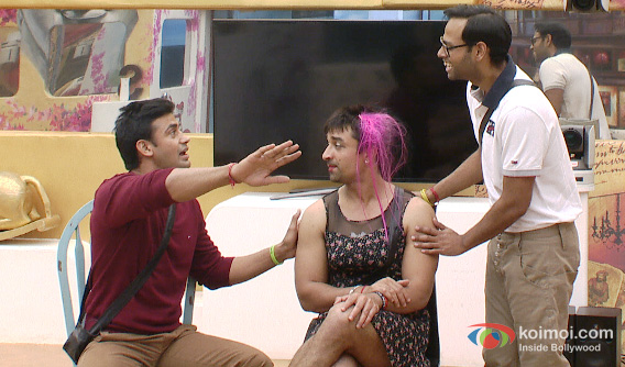 Sangram Singh, Ajaz Khan and VJ Andy in Bigg Boss 7