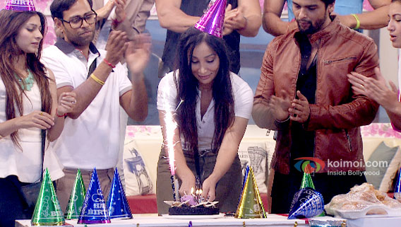 Tanishaa Mukherjee, VJ Andy, Sofia Hayat, Kushal Tandon and Gauhar Khan in Bigg Boss 7