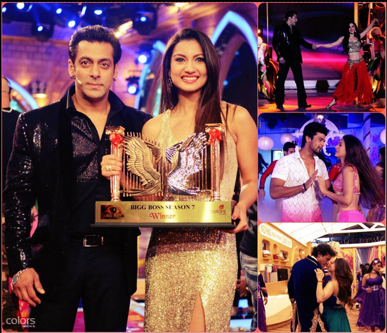 Salman Khan and Gauhar Khan at the Bigg Boss 7 Finale