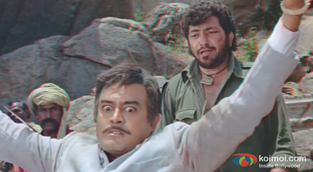 Amjad Khan and Sanjeev Kumar in a still from Sholay 3D
