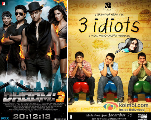 Dhoom 3 and 3 Idiots Movie Poster