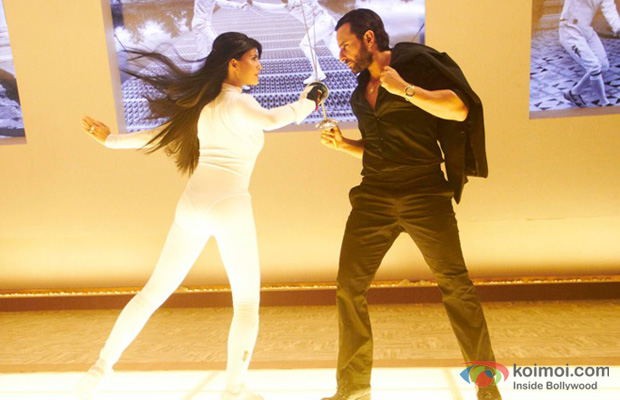 Jacqueline Fernandez and Saif Ali Khan in a still from Race 2