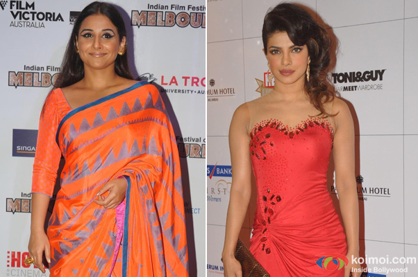Vidya Balan and Priyanka Chopra at an event