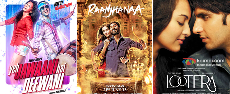 Yeh Jawaani Hai Deewani, Raanjhanaa and Lootera Movie Poster