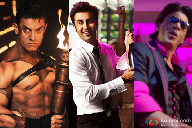 Aamir Khan still from 'Malang' song, Ranbir Kapoor still from 'Badtmeez Dil' and Shah Rukh Khan stil from 'Lungi Dance'