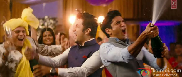 Vir Das and Farhan Akhtar in 'Harry Is Not Bhramchari' song atill from 'Shaadi Ke Side Effects'