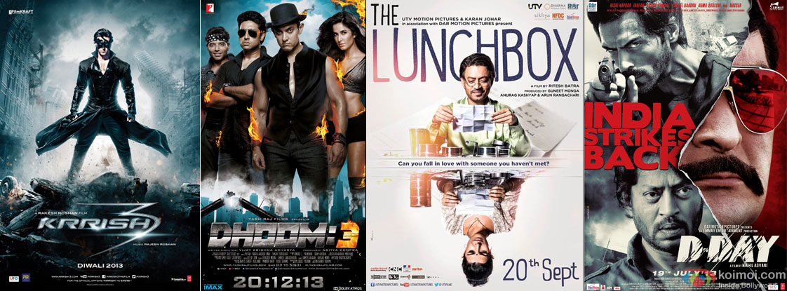 Krrish 3, Dhoom 3, The Lunchbox and D Day Movie Poster