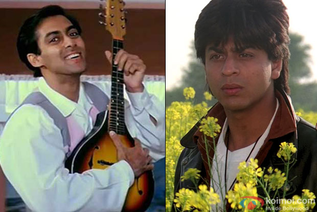 Salman Khan in a still from 'Hum Aapke Hain Koun..!' and Shah Rukh Khan in a still from 'Dilwale Dulhania Le Jayenge'
