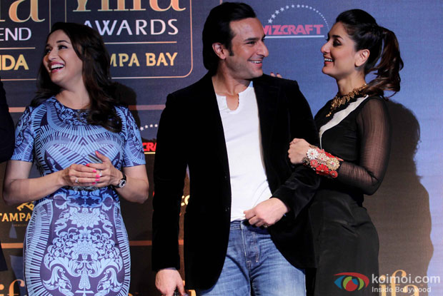 Madhuri Dixit, Saif Ali Khan and Kareena Kapoor during the IIFA Press Conference
