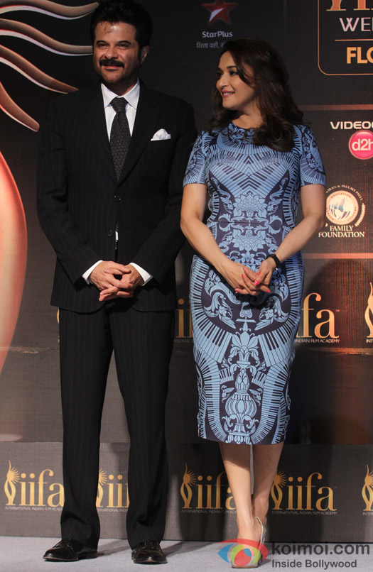 Anil Kapoor and Madhuri Dixit during the IIFA Press Conference
