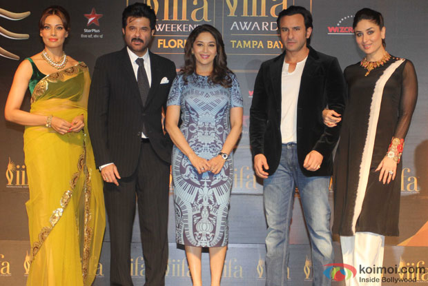 Bipasha Basu, Anil Kapoor, Madhuri Dixit, Saif Ali Khan and Kareena Kapoor during the IIFA Press Conference