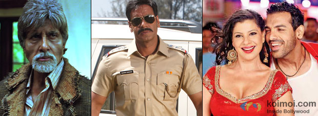 Still from Bhoothnath Returns, Singham 2 and Welcome Back