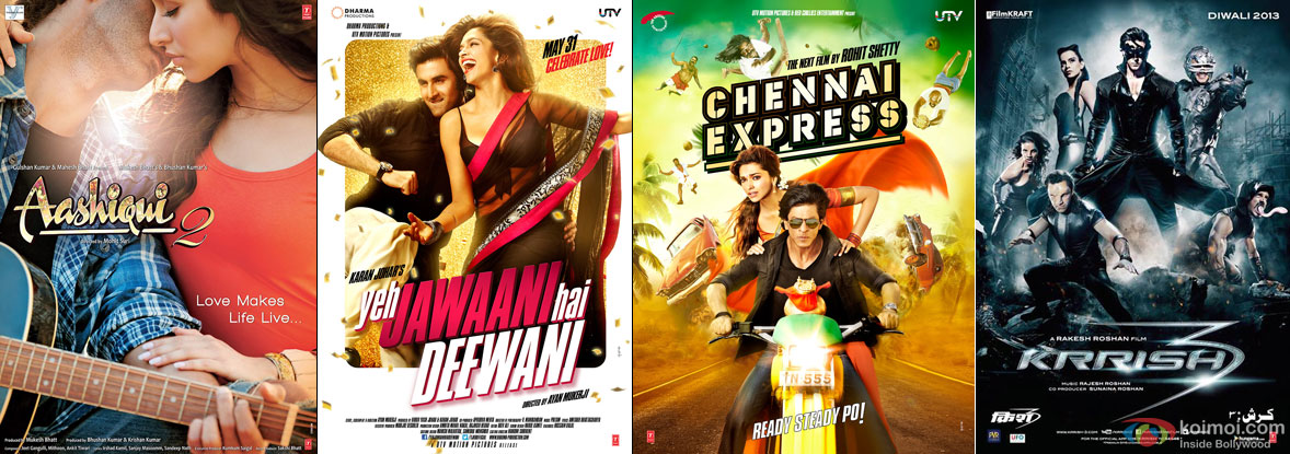 Aashiqui 2, Yeh Jawaani Hai Deewani, Chennai Express and Krrish 3 Movie Poster