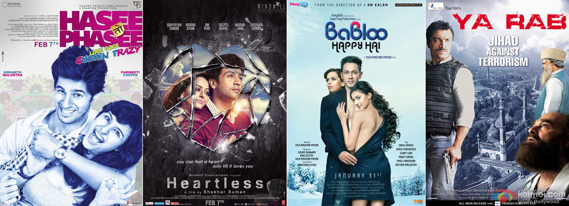 Hasee Toh Phasee, Heartless, Babloo Happy Hai and Ya Rab Movie Poster