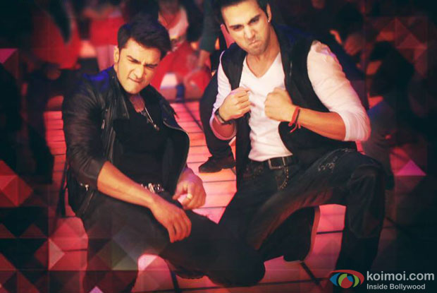 Bilal Amrohi and Pulkit Samrat in a 'Butt Patlo' song still from movie 'O Teri '