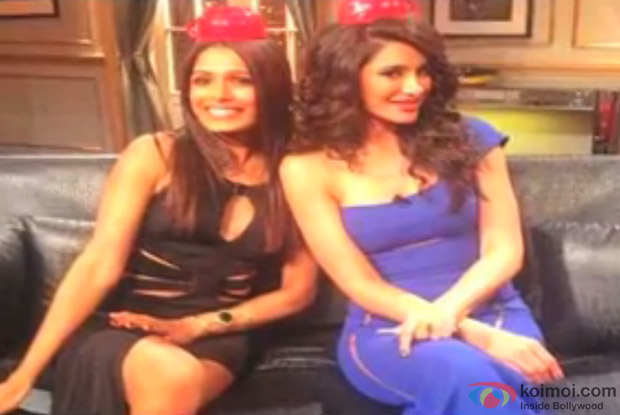 Freida Pinto and Nargis Fakhri on the sets of 'Koffee With Karan Season 4′