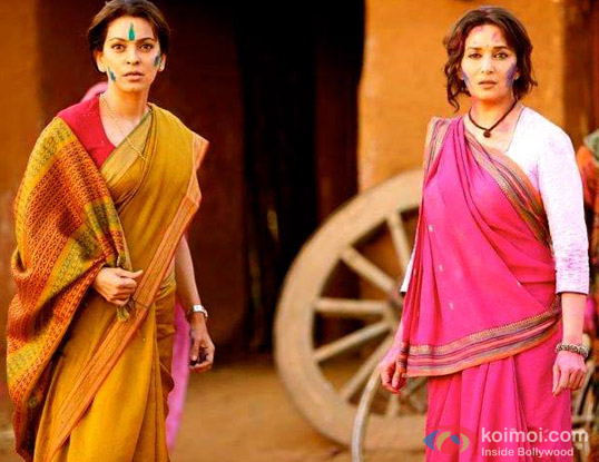 Juhi Chawla and Madhuri Dixit in a still from movie 'Gulaab Gang'