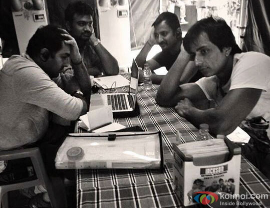 Sonu Sood and Crew on the sets of movie 'Happy New Year'