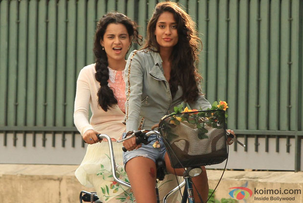 Kangana Ranaut and Lisa Haydon in a still from movie 'Queen'