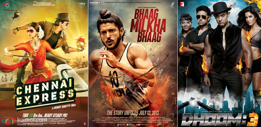 Chennai Express, Bhaag Milkha Bhaag and Dhoom 3 Movie Poster