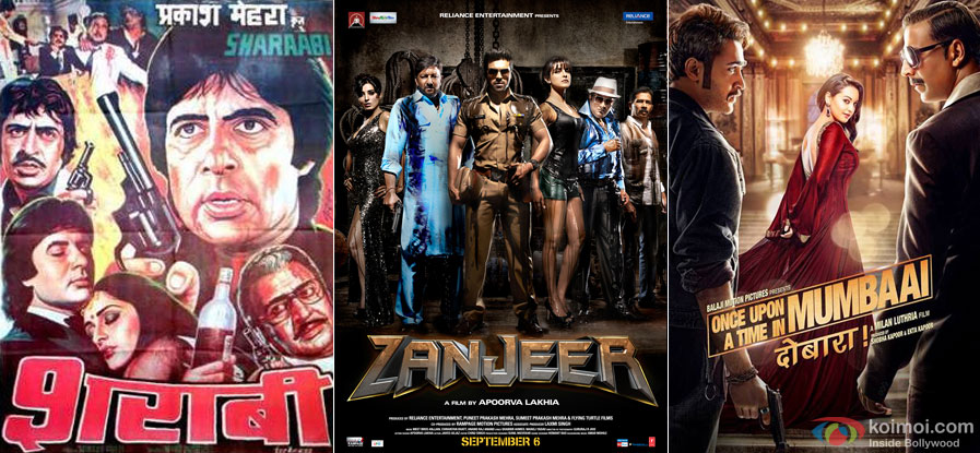Sharaabi (1984), Zanjeer (2013) and Once Upon A Time in Mumbai Dobaara! (2013) Movie Poster