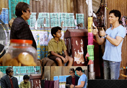Amitabh Bachchan and Shah Rukh Khan On Sets Of Bhoothnath Returns