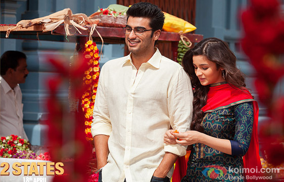 Arjun Kapoor and Alia Bhatt in a still from movie '2 States'