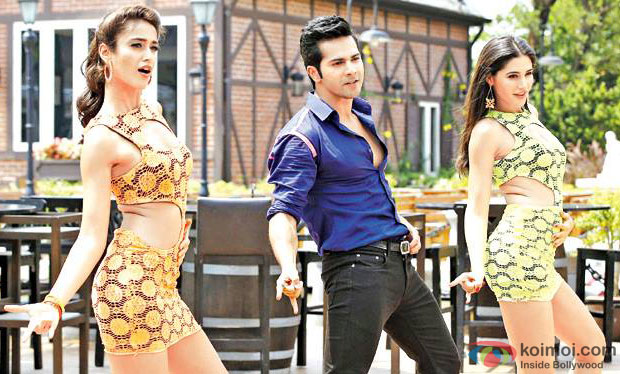 Nargis Fakhri, Varun Dhawan and Ileana DCruz in a still from movie 'Main Tera Hero'