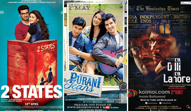 '2 States', 'Purani Jeans', and 'Kya Dilli Kya Lahore' Movie Poster