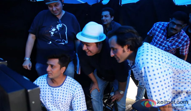 Ritesh Deshmukh, Sajid Khan and Saif Ali Khan on the sets of 'Humshakals'