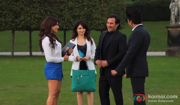 Bipasha Basu, Tamannaah, Saif Ali Khan and Ritesh Deshmukh on the sets of 'Humshakals'