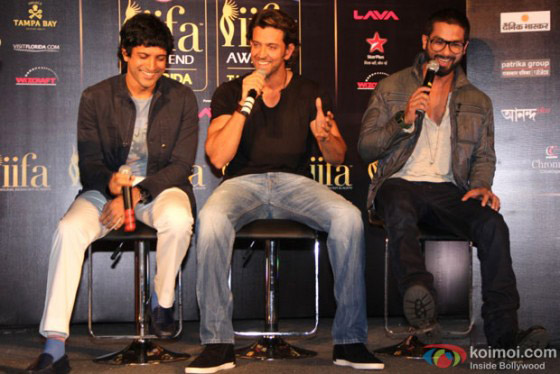 Farhan Akhtar, Hrithik Roshan and Shahid Kapoor IIFA Press Meet