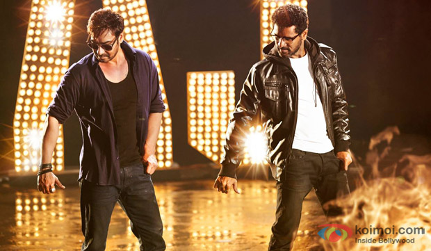 Ajay Devgn and Prabhudheva on the sets of 'Action Jackson'