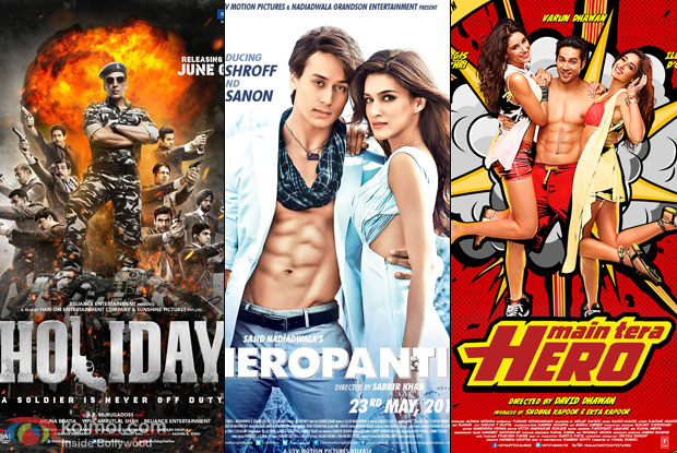 Holiday – A Soldier Is Never Off Duty, Heropanti and Main Tera Hero Movie Poster
