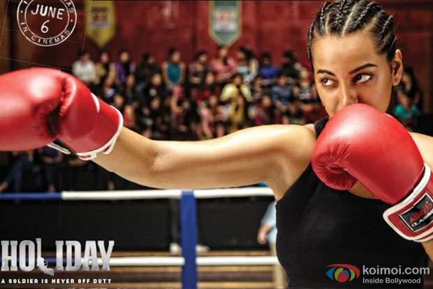 Sonakshi Sinha in a still from movie 'Holiday – A Soldier Is Never Off Duty'