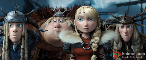 Kristen Wiig, Christopher Mintz-Plasse and T.J. Miller in a still from movie 'How to Train Your Dragon 2'