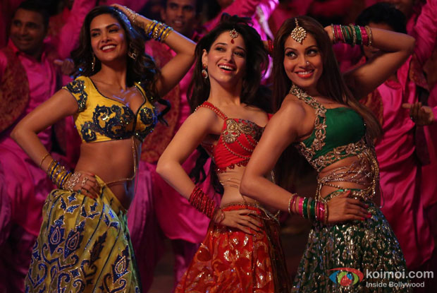 Esha Gupta, Tamannaah Bhatia and Bipasha Basu in a still from movie 'Humshakals'
