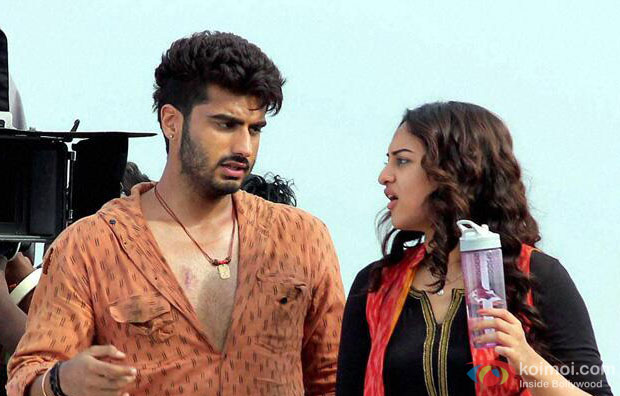 Arjun Kapoor and Sonakshi Sinha on the sets of movie 'Tevar'