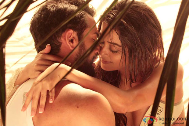 Jay Bhanushali and Surveen Chawla in a still from movie 'Hate Story 2'