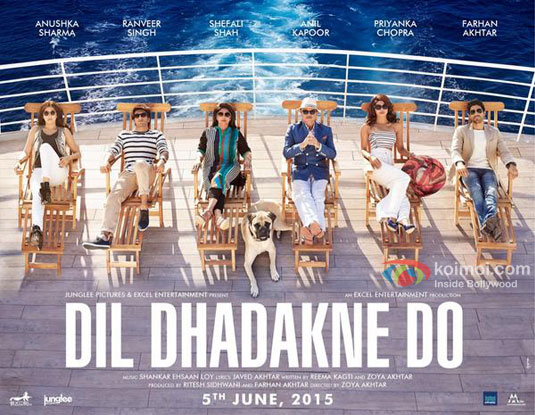 Anushka Sharma, Ranveer Singh, Shefali Shah, Anil Kapoor, Priyanka Chopra and Farhan Akhtar in a Dil Dhadakne Do Movie Poster