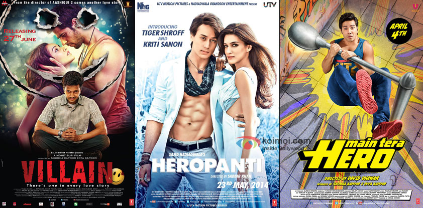Ek Villain ,Heropanti and Main Tera Hero Movie Poster