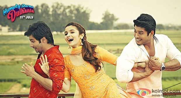 Varun Dhawan, Alia Bhatt and Siddharth Shukla in a still from movie 'Humpty Sharma Ki Dulhania'