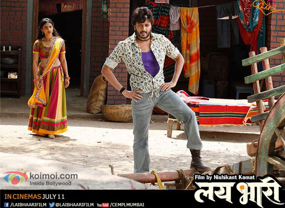 Radhika Apte and Riteish Deshmukh in a still from movie 'Lai Bhaari'